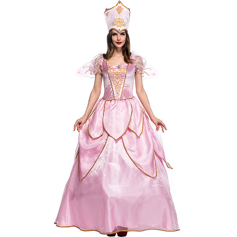 Adult Women Pink Flower Fairy Queen Dress Costume For Halloween/Stage Performance/Party