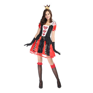 Adult Women Poker Queen of Hearts Mini Dress Costume For Halloween/Stage Performance/Party