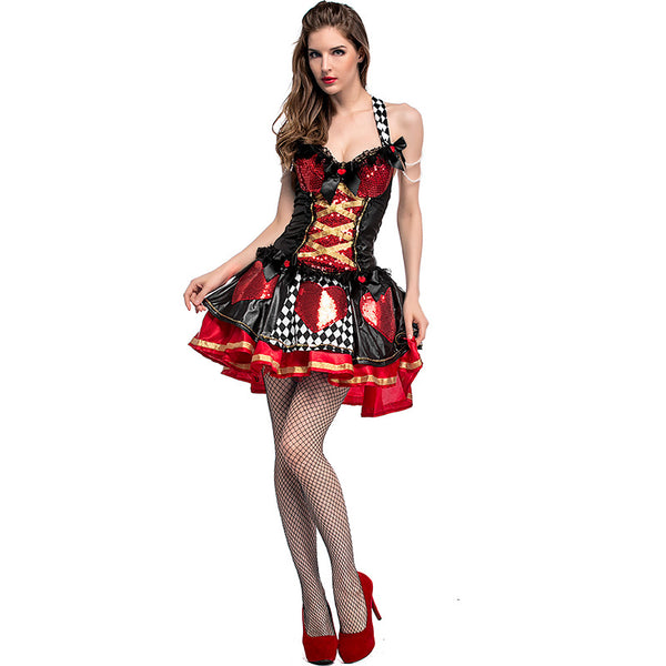 Adult Women Poker Queen of Hearts Sequin Mini Dress Costume For Halloween/Stage Performance/Party