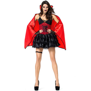 Adult Women Queen of Vampire Costume With Cloak For Halloween/Stage Performance/Party