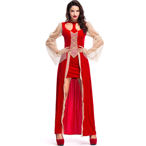 Adult Women Red Sexy Queen Ball Gown Dress Costume For Halloween/Stage Performance/Party