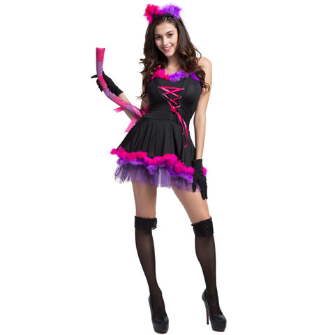 Adult Women Sexy Purple Cat Halloween Cosplay Costume Short Dress