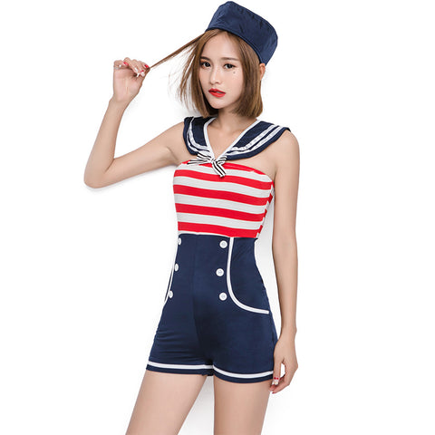Stripe Jumpsuit Navy Sailor Costume