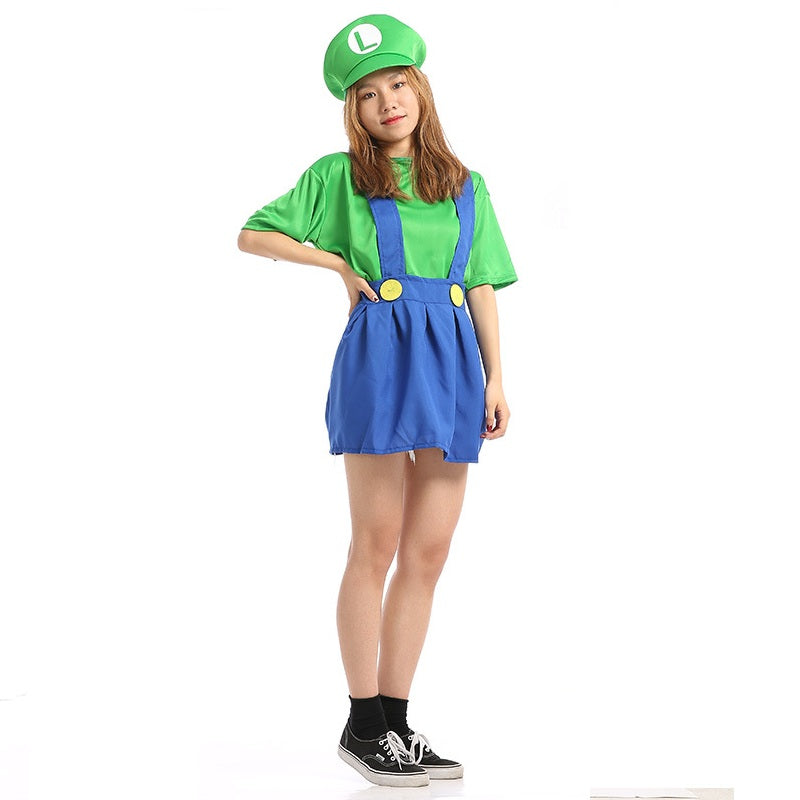 Adult Women Super Mario Bros Green Luigi Cosplay Costume Halloween/Stage Performance/Party