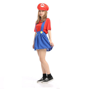 Adult Women Super Mario Bros Red Cosplay Costume Halloween/Stage Performance/Party