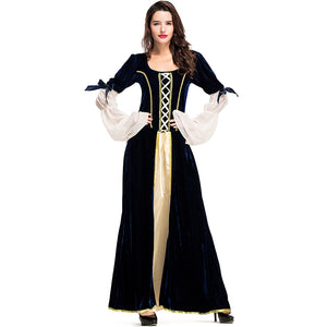 Adult Women Victorian Royal Queen Retro Dress Costume For Halloween/Stage Performance/Party