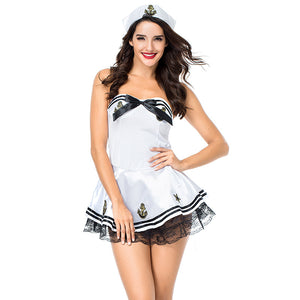 White Sexy Princess Style Navy Sailor Costume