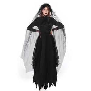Adult Women's Black Witch Ghost Bride Halloween Cosplay Costume Dress