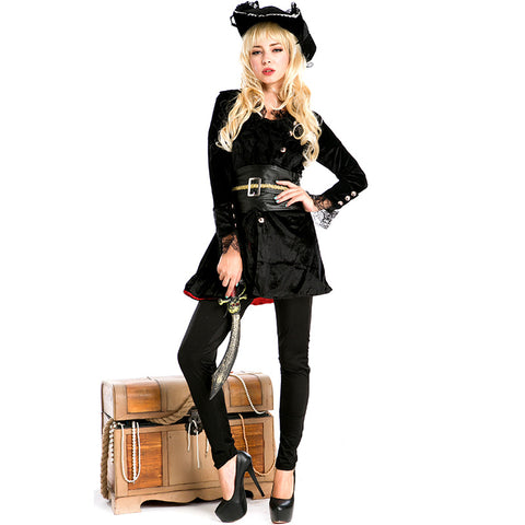 Adult Womens Black Knight Pirate Lady Costume Halloween / Stage Performance / Party