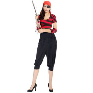 Adult Womens Deckhand Darling One-eyed Pirate Costume Halloween/Stage Performance/Party