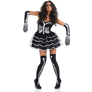 Adults Women Skeleton Bride Party Dress Halloween Cosplay Costume