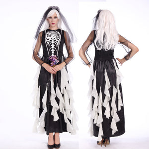 Adults Women Black and White Skeleton Bride Wedding Dress Halloween Cosplay Costume