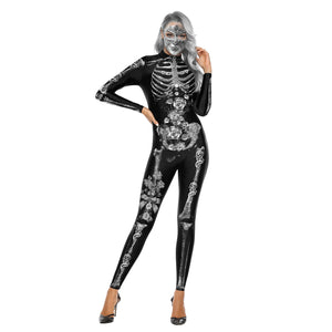 Adults Women Classic Skeleton Halloween Cosplay Costume Jumpsuit