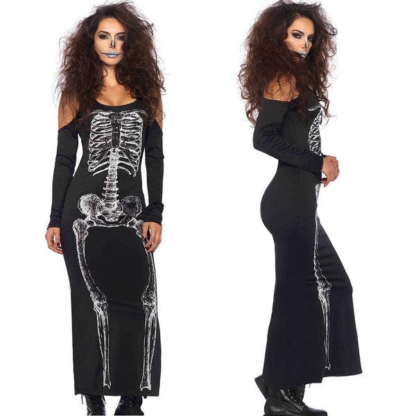 Adults Women Sexy Off Shoulder Skeleton Halloween Cosplay Costume Long Dress
