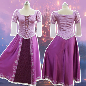 Adults Women Tangled Rapunzel Princess Cosplay Dress Halloween Costume