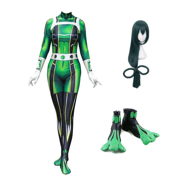 My Hero Academia Froppy Tsuyu Asui Fighting Suit Cosplay Costume Full Set With Wigs and Shoes