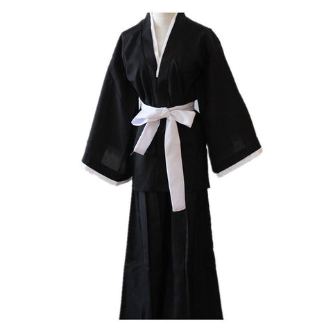 Anime Bleach Kuchiki Rukia Cosplay Costume Japanese Black Kimono Outfit