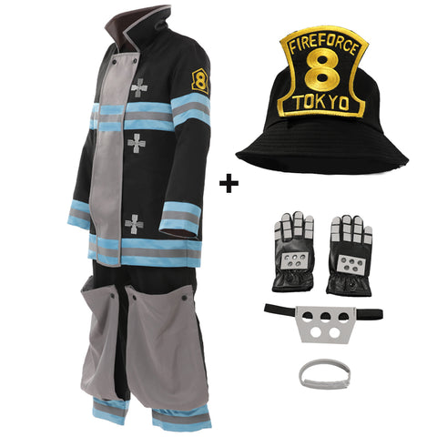 Anime Fire Force Enen No Shouboutai No.8 Special Team Shinra Kusakabe Cosplay Costume Full Set