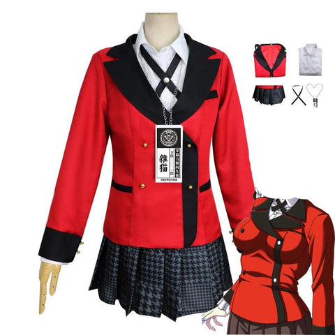 Anime Kakegurui Compulsive Gambler Kirari Momobami Cosplay Costume Uniform Full Set