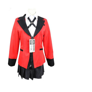 Anime Kakegurui Compulsive Gambler Yumeko Jabami Cosplay Costume Uniform Full Set