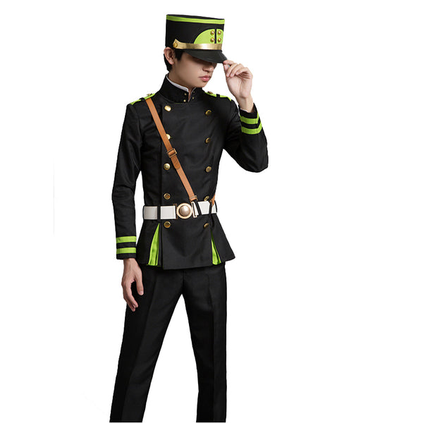 Anime Seraph of the end Cosplay Yuichiro Hyakuya Coaply Costume Full Set With Cloak Hat and Wigs