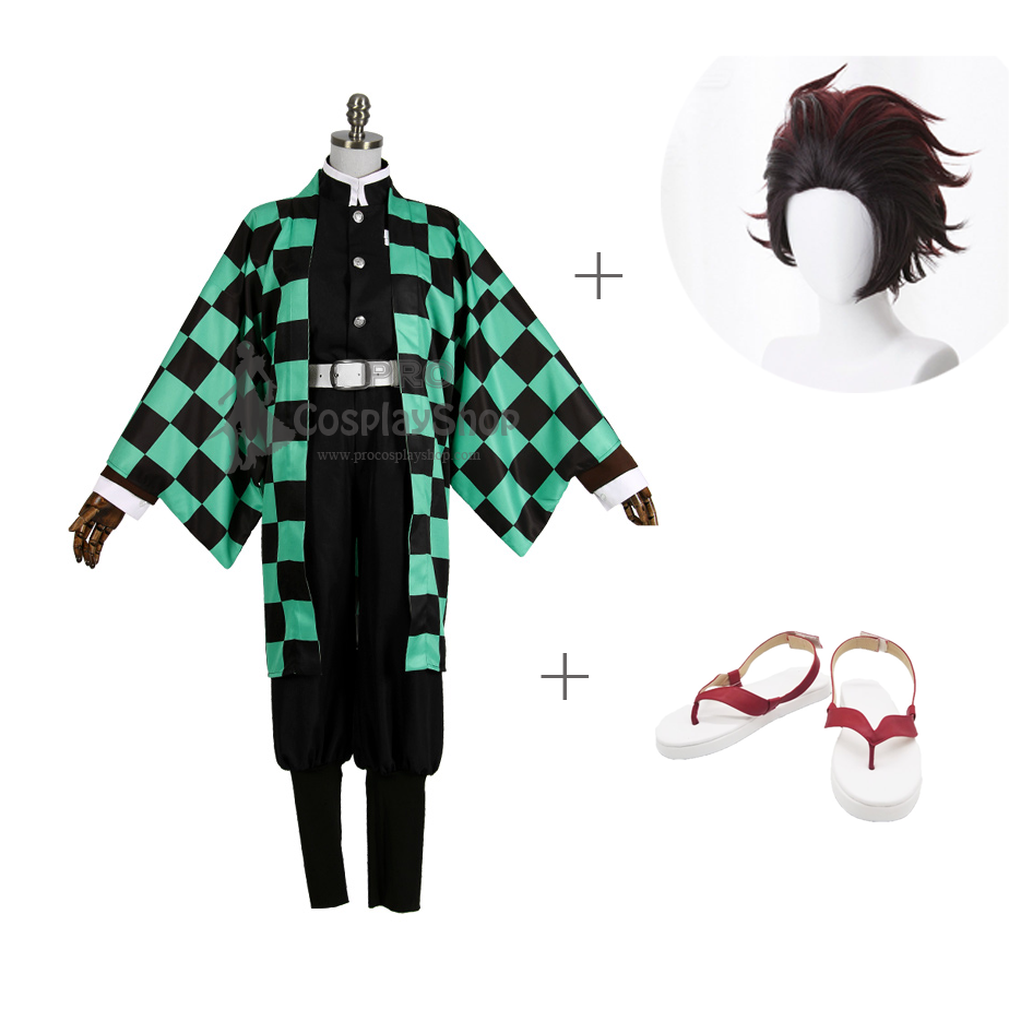 Anime Demon Slayer / Kimetsu no Yaiba Tanjirou Kamado Cosplay Costume With Wigs And Shoes