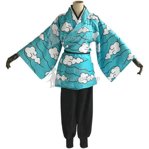 Anime Demon Slayer / Kimetsu no Yaiba Urokodaki Sakonji Kamado Tanjirou Blue Cosplay Costume