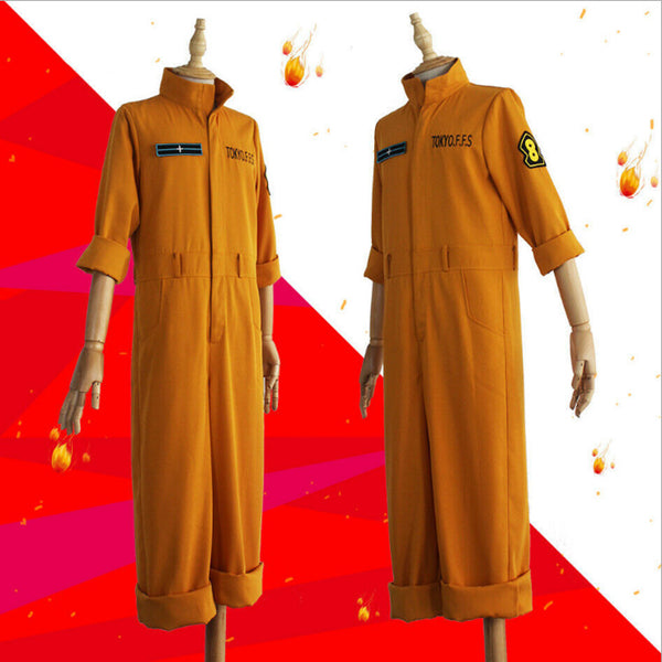 Anime Fire Force Enen No Shouboutai No.8 Special Team Shinra Kusakabe Yellow Suit Cosplay Costume