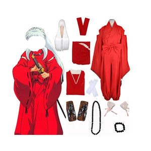 Anime Inuyasha Red Kimono Full Set(9 pcs) Cosplay Costume Halloween / Stage Performance / Party