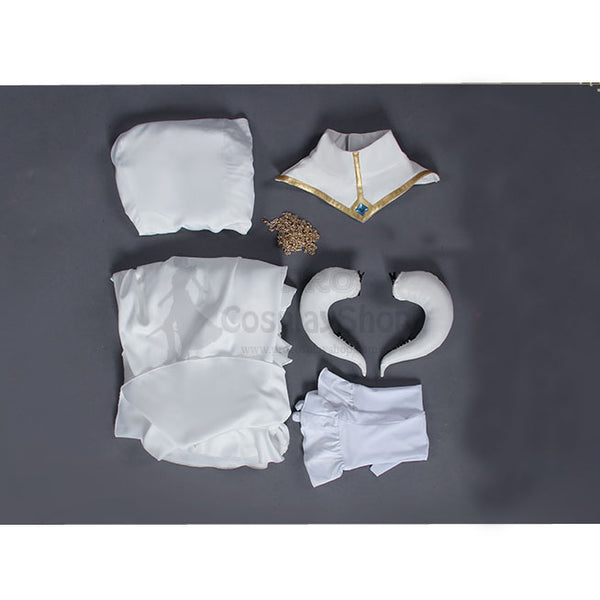 Anime Overlord Albedo Cosplay Costume White Dress Deluxe Version