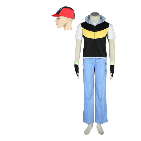 Anime Pokemon Pocket Moster Ash Ketchum Cosplay Costume