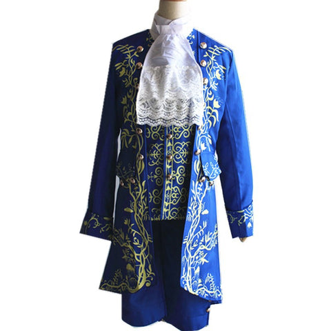 Beauty and The Beast The Prince Adam Blue Halloween Cosplay Costume Oufit