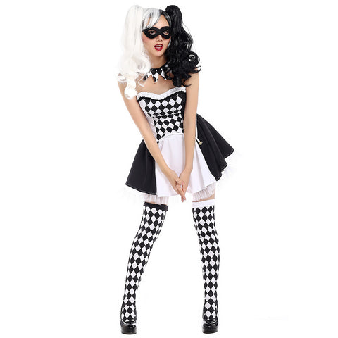 Black and White Plaid Clown Costume Women Jester Cosplay Costume Dress