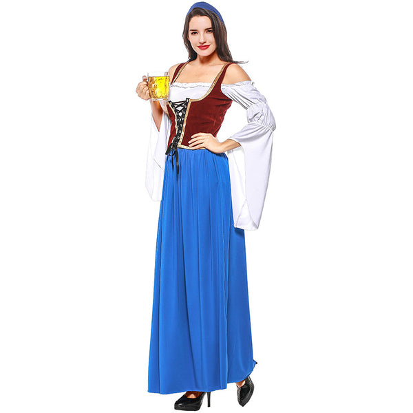 Blue And White Pirate / German Beer Costume Halloween/Stage Performance/Party