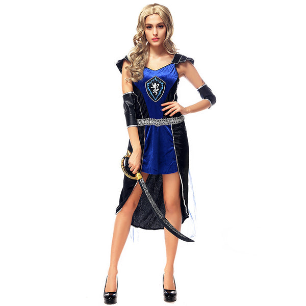 Blue Women Warrior Cosplay Costume For Halloween Party Performance