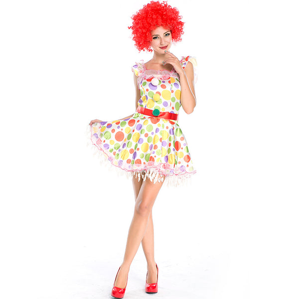 Candy Color Clown Cosplay Costume For Halloween Party  Performance