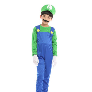 Child Boy Super Mario Bros Green Luigi Cosplay Costume Halloween/Stage Performance/Party
