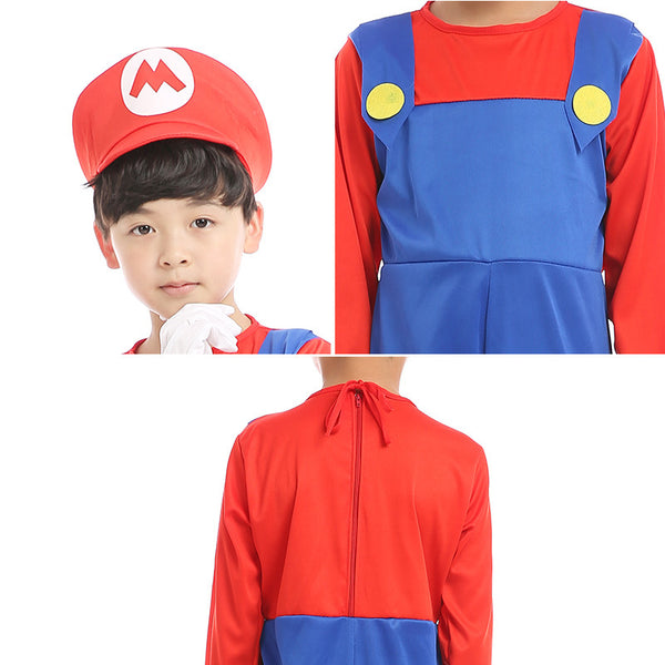Child Boy Super Mario Bros Red Cosplay Costume Halloween/Stage Performance/Party