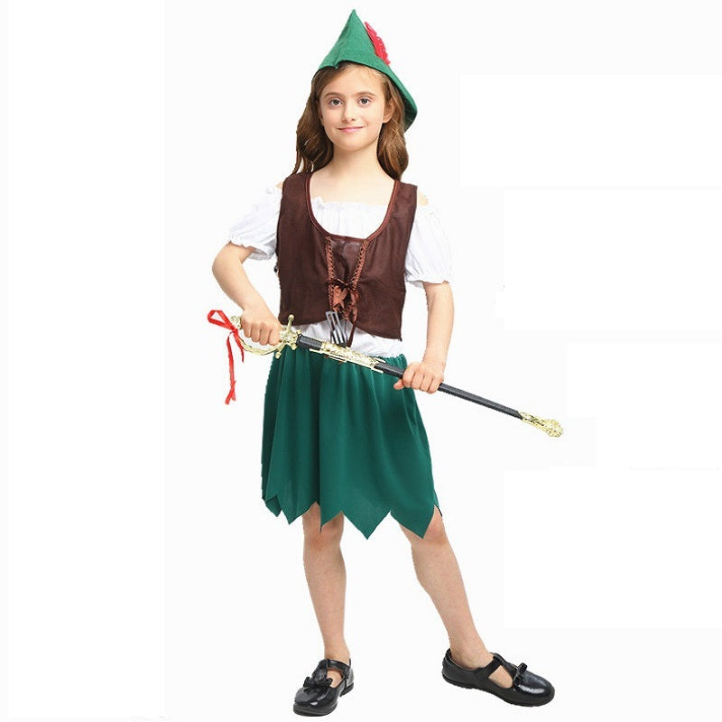 Child Girl Peter Pan Robin Hood Cosplay Costume Halloween / Stage Performance / Party