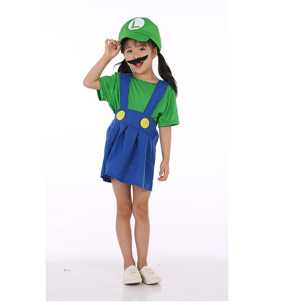 Child Girl Super Mario Bros Green Luigi Cosplay Costume Halloween/Stage Performance/Party