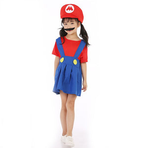 Child Girl Super Mario Bros Red Cosplay Costume Halloween/Stage Performance/Party
