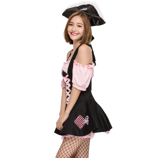 Women Cute And Funny Pink Pirate Cosplay Costume Halloween/Stage Performance/Party