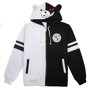 Danganronpa Monokuma Black and White Zipper Hoodie