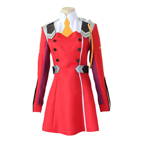 Darling In The Franxx 02 Zero Two Cosplay Costume DFXX Red Full Sets Uniform Costume With Headwear and Socks