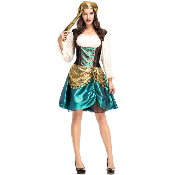 Deluxe Female Gypsy Pirate Cosplay Costume Halloween/Stage Performance/Party