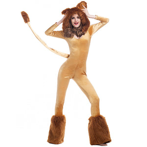 Deluxe Halloween Furry Hooded Lion Animal Cosplay Costume For Women