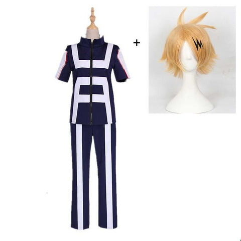 Boku No Hero / My Hero Academia Denki Kaminari Training/Gym Suit Cosplay Costumes With Wigs Unisex
