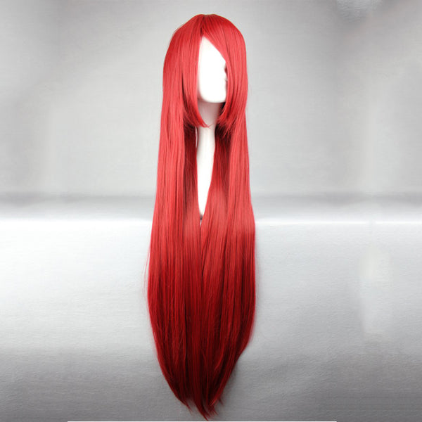 Fairy Tail Erza Scarlet Long Synthetic Hair Wine Red Cosplay Wigs