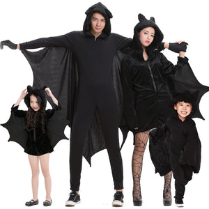 Family Halloween Costume Blackt Bat Animal Cosplay Costume Onesis