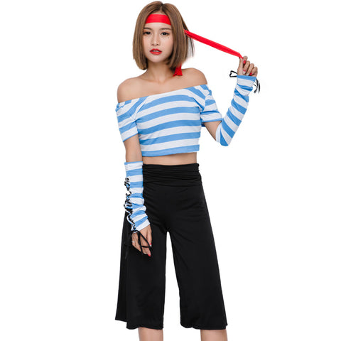 Fashion Seven Points Wide Leg Pants Blue And White Pirate Costume Halloween/Stage Performance/Party Women